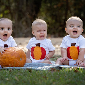 1-2-3 by Jeannie Meyer - Babies & Children Child Portraits ( orange, pumkins, red, fall portraits, twins,  )