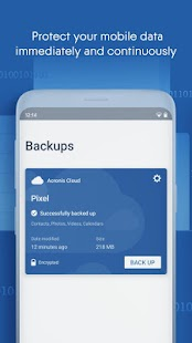 Acronis Cyber Backup Capture d'écran