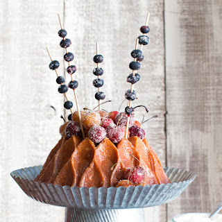 Brown Butter Bourbon Bundt Cake with Grilled Cherries