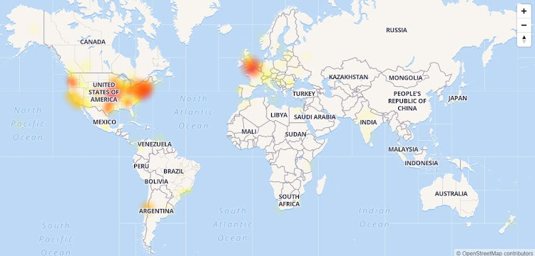 Outage map shows the areas most effected by the Google outage on Tuesday.