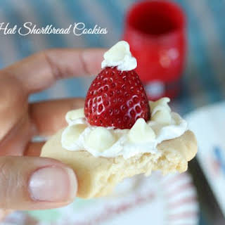 Santa Hat Shortbread Cookies.