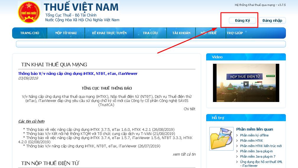 Đăng ký tài khoản kê khai Thuế qua mạng trên trang thông tin của TCT