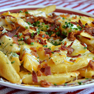 Loaded Bacon, Cheddar, and Ranch French Fries.
