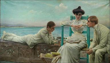 """Photo: Vittorio Matteo Corcos, """"In lettura sul mare"""" (1910)"""
