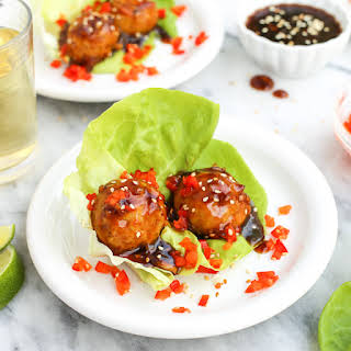 Baked Chicken Meatballs with Sweet Oyster Sauce.