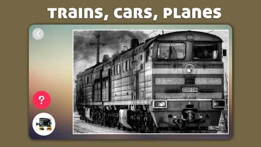 飛機,汽車和火車拼圖為孩子和幼兒