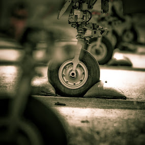 Landing Gear by Geary LeBell - Transportation Airplanes ( landing gear, wheel, airplane, jet, tire, military.air force )