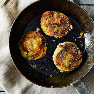 Mashed Potato Cakes with Broccoli and Cheese.
