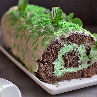 Chocolate Mint Roll Cake.