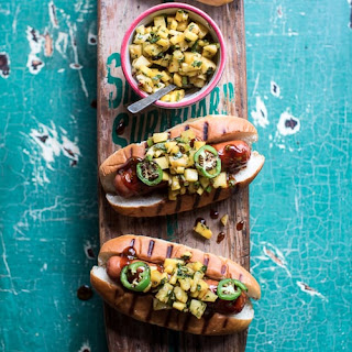 Hawaiian Barbecue Dogs With Mango, Chili, Pineapple, and Lime Relish