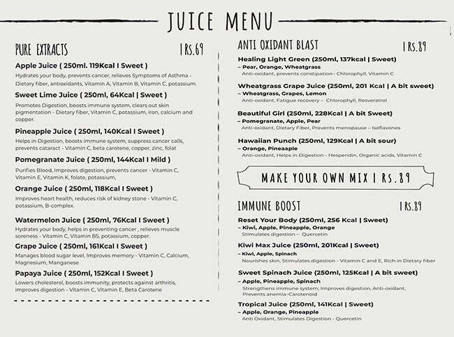 Prezzed Juicery menu 2