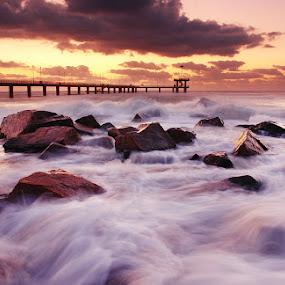 Saltwater by Senna Ayd - Landscapes Weather ( clouds, sand, wind, sea, beach, landscape, sun, sky, wave, bridge, sunrise, saltwater, rocks )