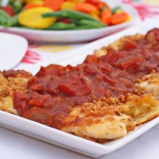 Crispy Breaded Tilapia with Balsamic Tomato Sauce.