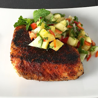 Blackened Red Snapper with Pineapple Mint Salsa.