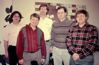 Photo: 1994 Holiday Eyeball QSO at CQ Magazine.