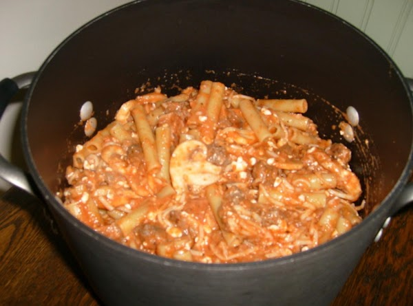 cook 1 box of ziti pasta--drain the noodles and return to the same pot....