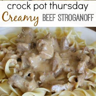 Crock Pot Creamy Beef Stroganoff.