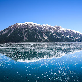 Reflections of a Mountain by John Chitty - Landscapes Mountains & Hills ( water, mountain, blue, ice, hubbard glacier, reflections,  )