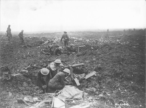 Canadian Machine Gunners dig themselves in, Vimy Ridge 1917 [LAC Title]