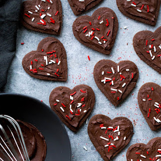 Almond Flour Chocolate Sugar Cookies with Velvet Chocolate Frosting.