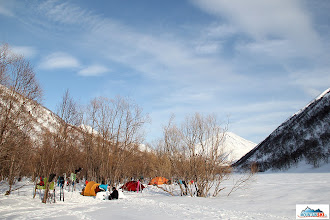 Photo: Our campsite on the embarkment of the river Pravaja Kamchatka