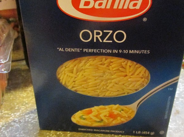 Cook Orzo pasta according to directions on box till Al dente', usually about 8...