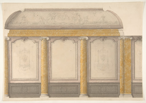 Design for wall panels with putti and flowered garlands