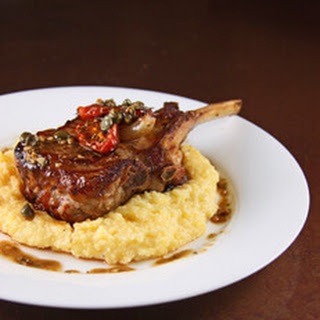 Roasted Veal Chop with Roasted Tomatoes, Shallots and Olives