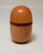 "Photo: Joe Stout 5"" x 3"" lidded box [cherry, paduk]"