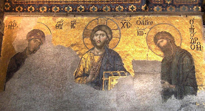 Photo: Title: Deësis mosaic (Christ Pantocrator) Artist: Unknown Medium: Mosaic Size: approx. 120 x 240cm Date: c.1260 Location: Hagia Sophia, Istanbul. http://iconsandimagery.blogspot.com/2009/07/deesis-mosaic-christ-pantocrator.html