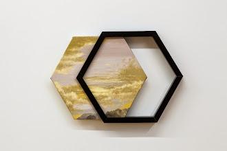 Photo: Cielo inanimado amarillo (desplazamiento lateral) 2014 Óleo sobre tela y molduras 33 x 48 cm