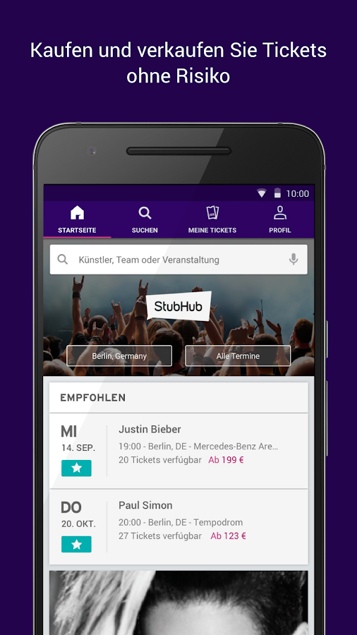 stubhub ticket marktplatz kaufen verkaufen android apps auf google play. Black Bedroom Furniture Sets. Home Design Ideas