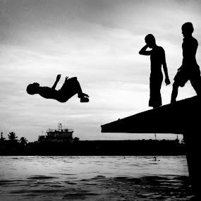 JUMP by Fransiskus Adi Candra - Babies & Children Children Candids ( white, children, black, jump )