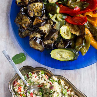 Moroccan Cauliflower Rice with Roasted Vegetables.