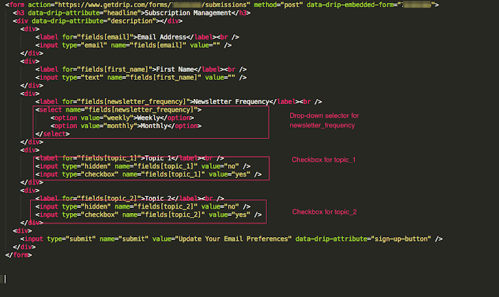 HTML form code