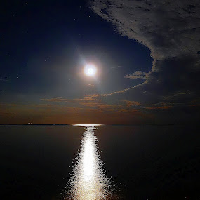 Moonlight by Milla Kantola - Landscapes Waterscapes ( clouds, moon, stars, night, beach, moonlight )