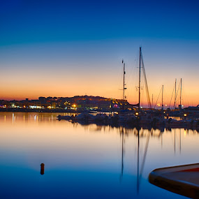 Nothing moves, everything tranquil! by Stavros Troullinos - Landscapes Waterscapes ( marine, waterscape, sunset, boats, greece, rethymno, crete, seascape, dock,  )