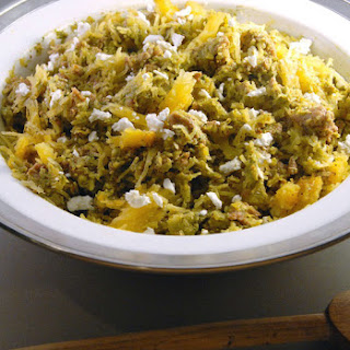 Pistachio Pesto Spaghetti Squash with Chicken Sausage + Goat Cheese Crumbles