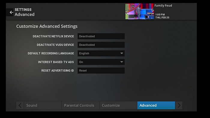 Change advanced settings on legacy Fiber TV