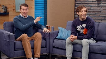 Thomas Middleditch Wears an Enigmatic Sweatshirt and Sweatpants with Pockets