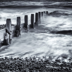 Foamy Cromer Sea by Jan Murphy - Black & White Landscapes ( water, groyne, norfolk, sea, pebbles, foamy, bolts,  )