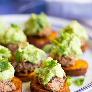 Sweet Potato Bites with Black Bean Hummus & Guacamole