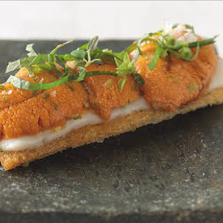 Sea Urchin Toasts With Shiso And Lime.