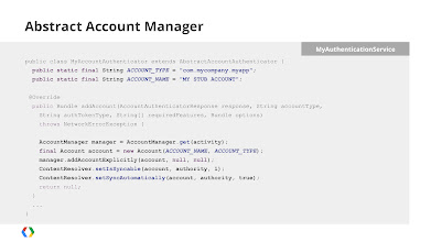 Photo: SyncAdapter was designed to synchronize a Content Provider associated with an Account, so there is some complexity associated with requiring that you have one of both before you can execute a sync. Start by creating an Account. If your app doesn't support or require accounts, you can use this code to explicitely create a pseudo account.