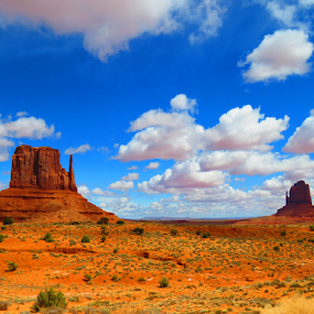 Monument Valley by Chris Bertenshaw - Landscapes Deserts ( clouds, monument valley, blue sky,  )