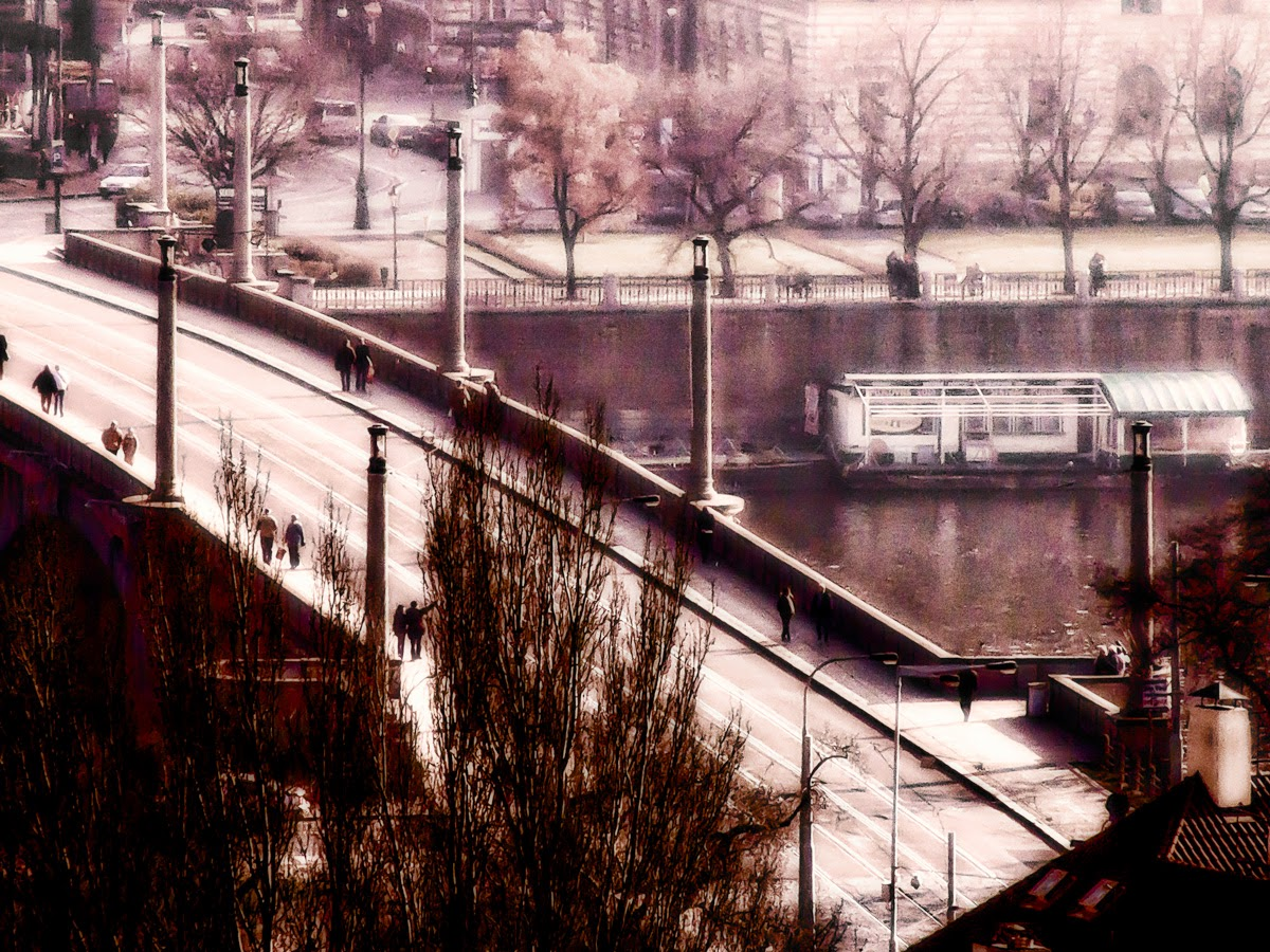 Photo: A Winter Morning By The Vltava- If you ignore the modern cars, this could be Prague 100 years ago.  Here's another example of a poor quality photo that I made something nice out of-- at least I like it! I cleaned up a lot of noise in Lightroom, then took it over to Photoshop CS6 where I applied a couple of adjustment layers and a Topaz Adjust  grunge effect with some custom tweaks for this rendition.