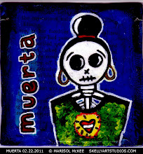 Photo: Muerta 02.22.2011. (sold) 4 ¼ x 4 ½ in. Acrylics, ink, collage on wood. Sealed with a non-yellowing glossy varnish. Ready to hang. Title and signature on the front and back. Sold to a collector in Florida. ©Marisol McKee.