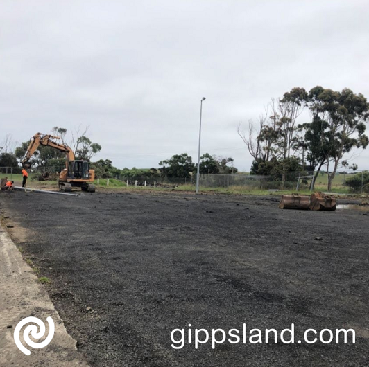 Work to upgrade the netball precinct at the Dalyston recreation Reserve is well underway and will be completed in time for the 2021 season