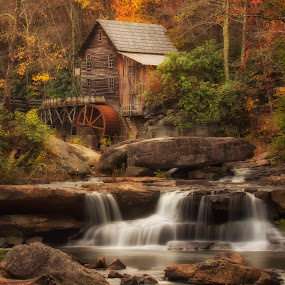 Fall Grist Mill by Patrick Morgan - Landscapes Travel ( water, mill, color, grist mill, fall, state park, fine art, babcock, water fall )