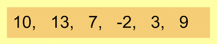 Notice that the highest value is 13, and the lowest value in this set is a negative number, so the equation 13 - (-2) would be used to calculate the range.